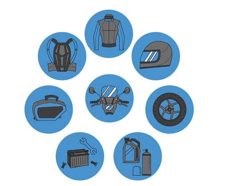Vector set of motorcycle icons Motorcycle parts and clothes Stock Illustratie