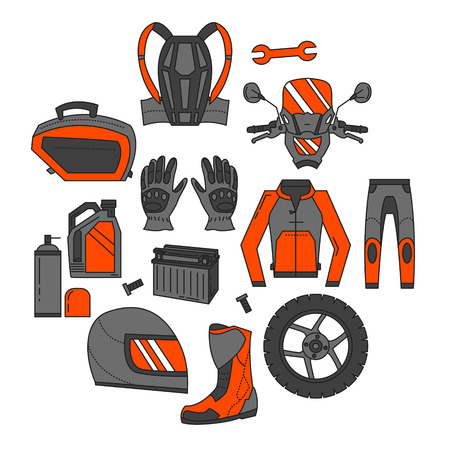 Vector set of motorcycle icons Motorcycle parts and clothes Vectores