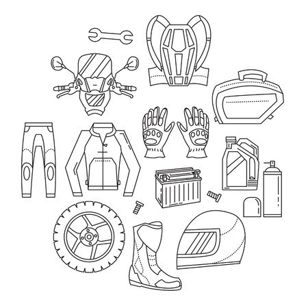 simple design: Vector set of motorcycle icons Motorcycle parts and clothes Illustration