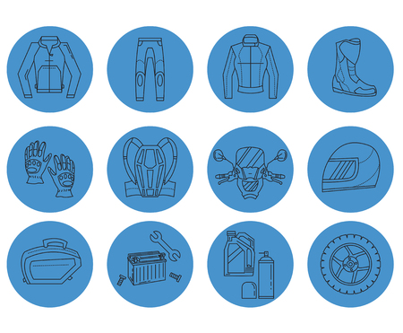 apparel part: Vector set of motorcycle icons Motorcycle parts and clothes Illustration