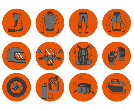 rearview: Vector set of motorcycle icons Motorcycle parts and clothes Illustration