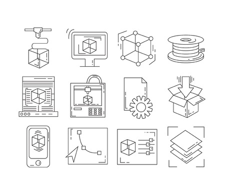 machining: 3D print icons set - vector collection of printing symbols in thin line style