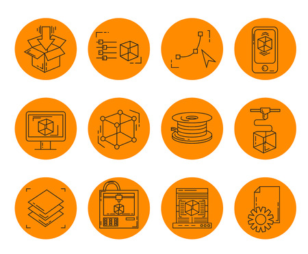 3D print icons set - vector collection of printing symbols in thin line style