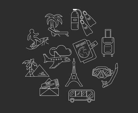 recreation: Vector set of travel icons Recreation and relax Illustration