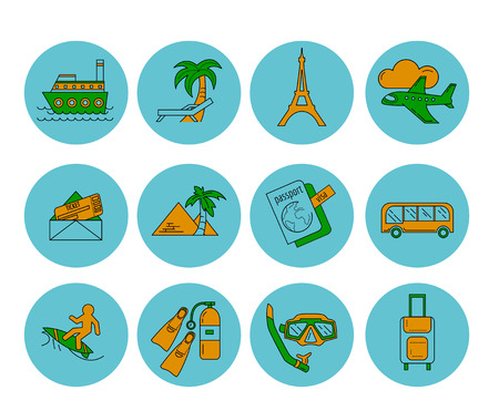 recreation rooms: Vector set of travel icons Recreation and relax Illustration