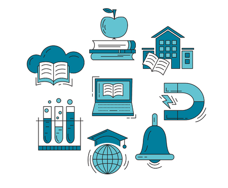 discover: Vector set of education icons Discover and technology