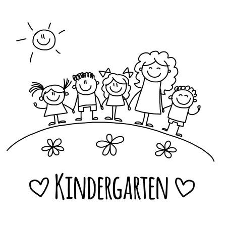maestra preescolar: Imagen con la imagen de jardín de infancia o en la escuela los niños de la mano dibujada
