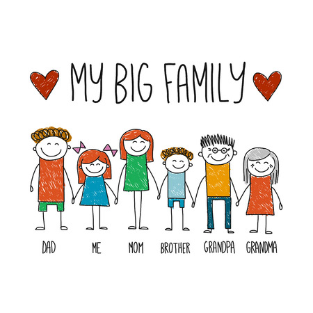 Cuadro de la imagen Mi familia dibujado a mano grande