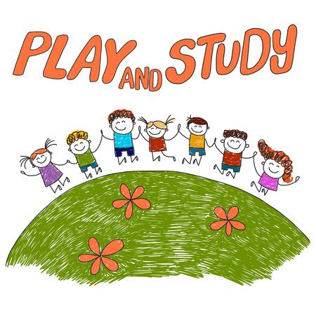 Image avec l'image dessinée maternelle ou à l'école les enfants à la main Vecteurs