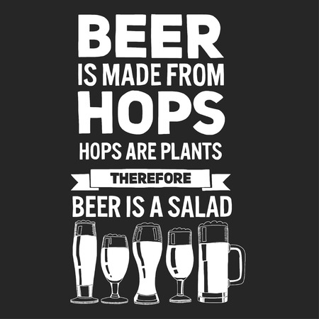Illustration with quote about beer Hand drawn image