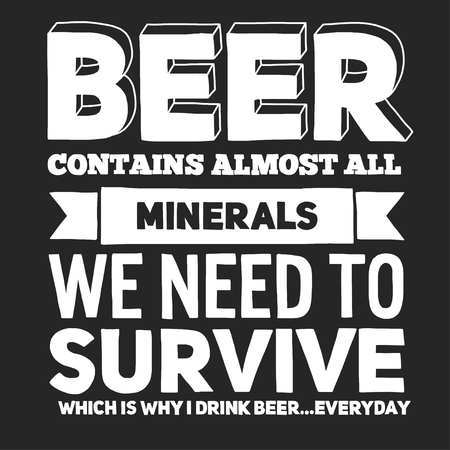 almost all: Illustration with quote about beer Hand drawn image