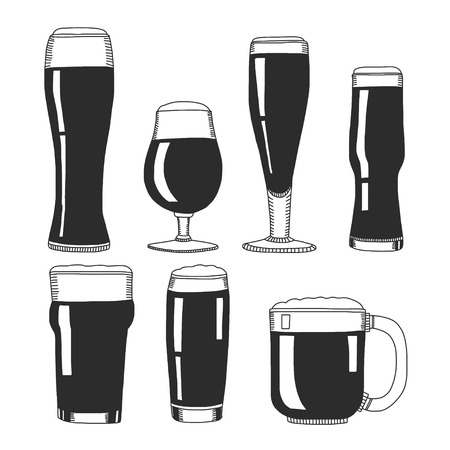 overflow: Hand drawn image with beer glasses Isolated on white background