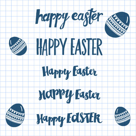 checked: Poster Happy Easter Hand drawn letters Image on checked paper