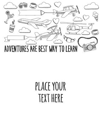 Hand Gezeichnet Doodle-Elemente Reisen Und Abenteuer Für Kinder ...