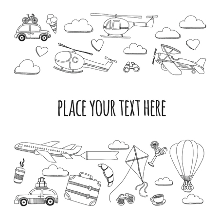 kids hand: Hand drawn doodle elements Travel and adventure Kids drawing Illustration