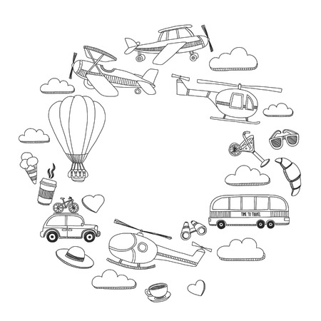 catalogs: Hand drawn doodle elements Travel and adventure Kids drawing Illustration