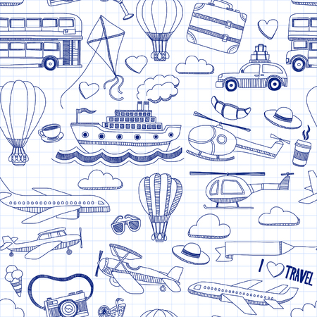Travel hand drawn elements Doodle travel elements on checked paper