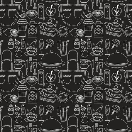 utensilios de cocina: Conjunto de utensilios de cocina de dibujado a mano. Fondo de la cocina. Doodle equipos de cocina. ilustraci�n vectorial