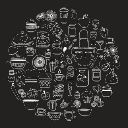 Set of hand drawn cookware. Kitchen background. Doodle kitchen equipments. Vector illustration