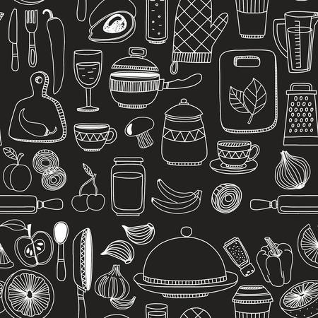 white chalk: Set of hand drawn cookware. Kitchen background. Doodle kitchen equipments. Vector illustration