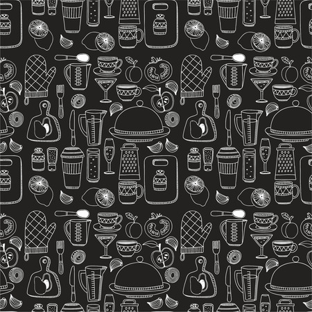 alimentos y bebidas: Conjunto de utensilios de cocina de dibujado a mano. Fondo de la cocina. Doodle equipos de cocina. ilustración vectorial