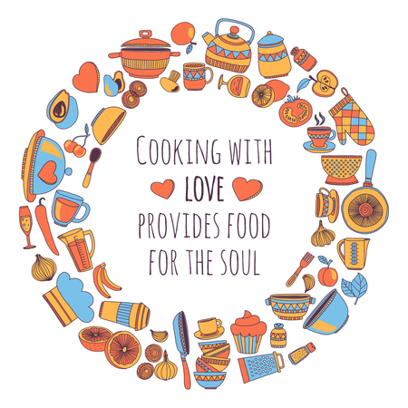 Cuisiner avec amour fournit de la nourriture pour l'image de l'âme Vector