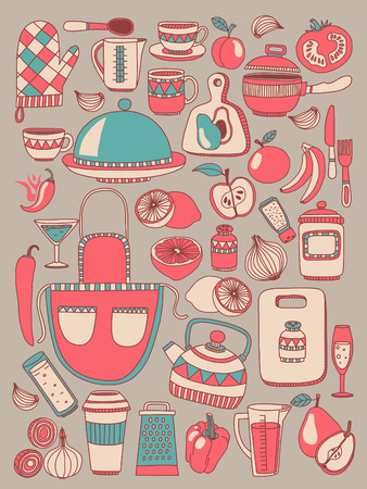 Doodle set of kitchenware items Hand drawn picture Illustration