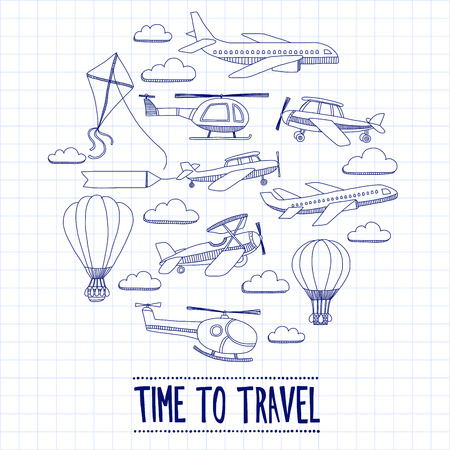 Doodle set of images Time to travel Hand drawn picture
