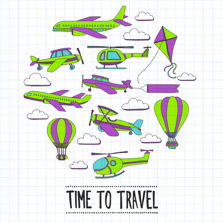 school kit: Doodle set of images Time to travel Hand drawn picture