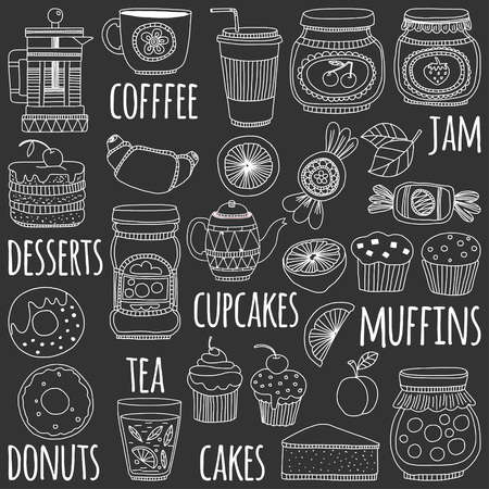 confectionery: Images for confectionery or coffee shop Hand drawn images on blackboard