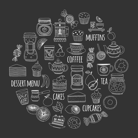 sweetshop: Images for confectionery or coffee shop Hand drawn images on blackboard