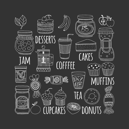 goody: Images for confectionery or coffee shop Hand drawn images on blackboard