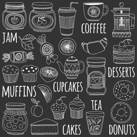 confiture: Images for confectionery or coffee shop Hand drawn images on blackboard