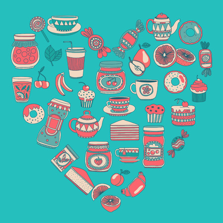 sweetshop: Images for confectionery or coffee shop Hand drawn images