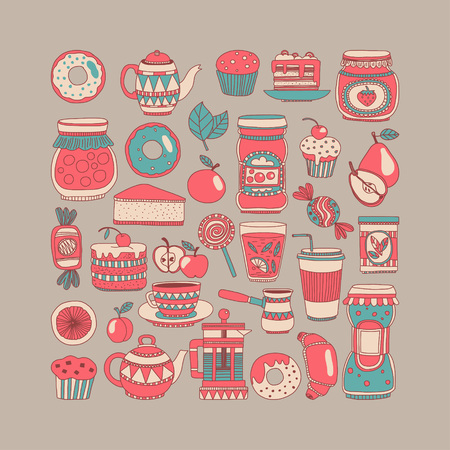 sweetmeat: Images for confectionery or coffee shop Hand drawn images