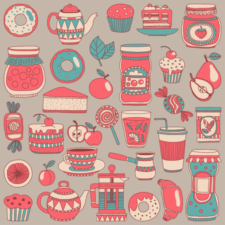confiture: Images for confectionery or coffee shop Hand drawn images