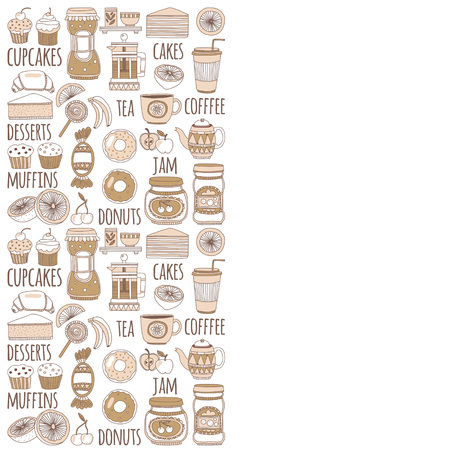 goody: Doodle style images with coffee, tea fruits and sweets