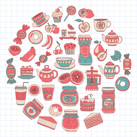 sweetmeat: Doodle style images with coffee, tea fruits and sweets