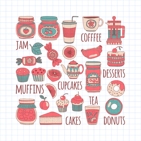 confiture: Doodle style images with coffee, tea fruits and sweets