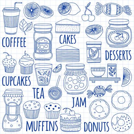 cafe bombon: imágenes de estilo dibujo con café, frutas y dulces de té