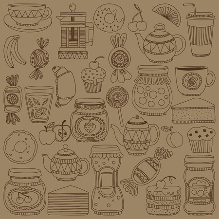 sweetshop: Set of coffee, tea, and food icons Doodle style Hand drawn pictures Illustration