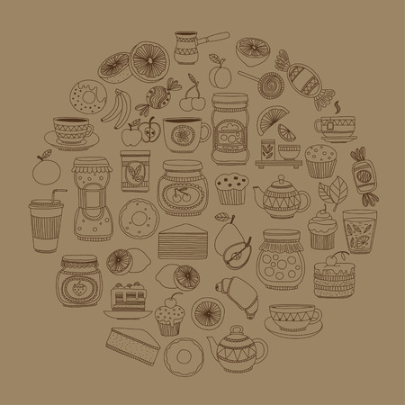 goody: Set of coffee, tea, and food icons Doodle style Hand drawn pictures Illustration