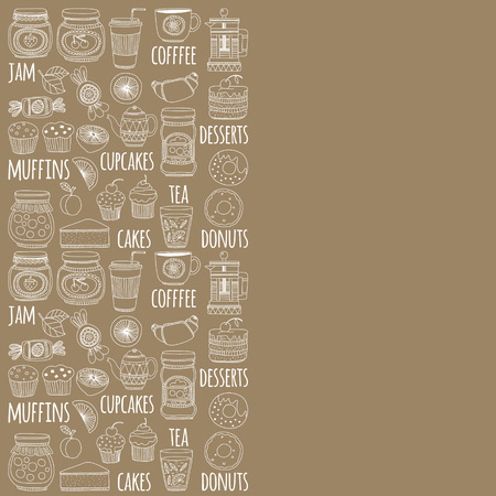 confiture: Set of coffee, tea, and food icons Doodle style Hand drawn pictures Illustration