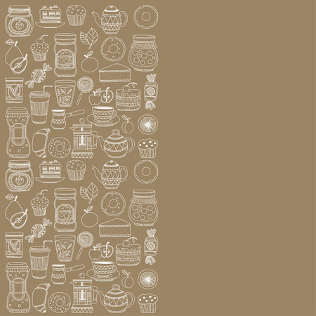 cafe bombon: Set of coffee, tea, and food icons Doodle style Hand drawn pictures Vectores