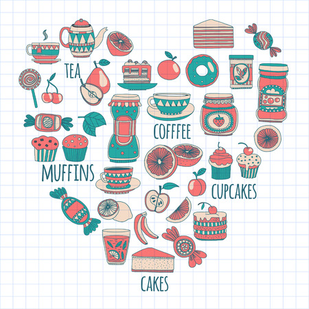 sweetshop: Doodle style images with coffee, tea fruits and sweets
