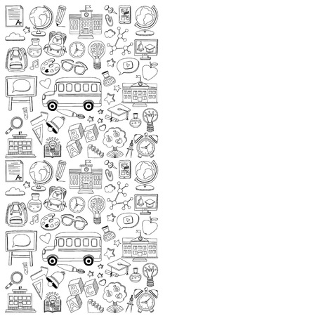 geography: Back to School doodle set. Supplies for Sport Art Reading Science Geography Biology Physics Mathematics Astronomy Chemistry Illustration