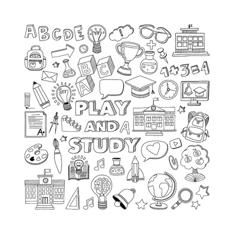 Back to School doodle set. Supplies for Sport Art Reading Science Geography Biology Physics Mathematics Astronomy Chemistry Vectores