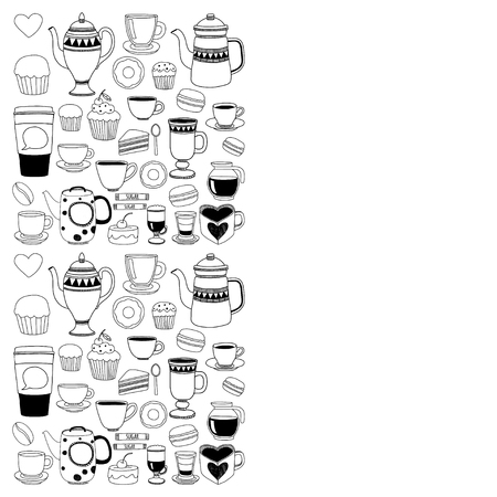 black coffee: Doodle set of coffee shop items with seamless pattern Hand drawn images Illustration