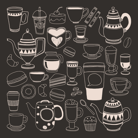 black coffee: Doodle hand drawn seamless pattern with coffee and desserts