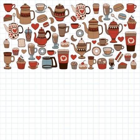 원활한 패턴으로 커피 숍 항목 집합을 낙서 손으로 그린 된 이미지